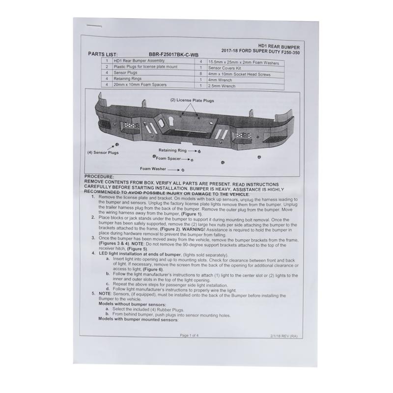 Stötfångare Bak - LD STYLE, Ford F250/350 17-18