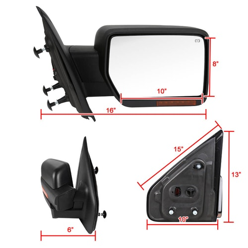 TOWING MIRROR-BLACK- RIGHT, F150 07-14