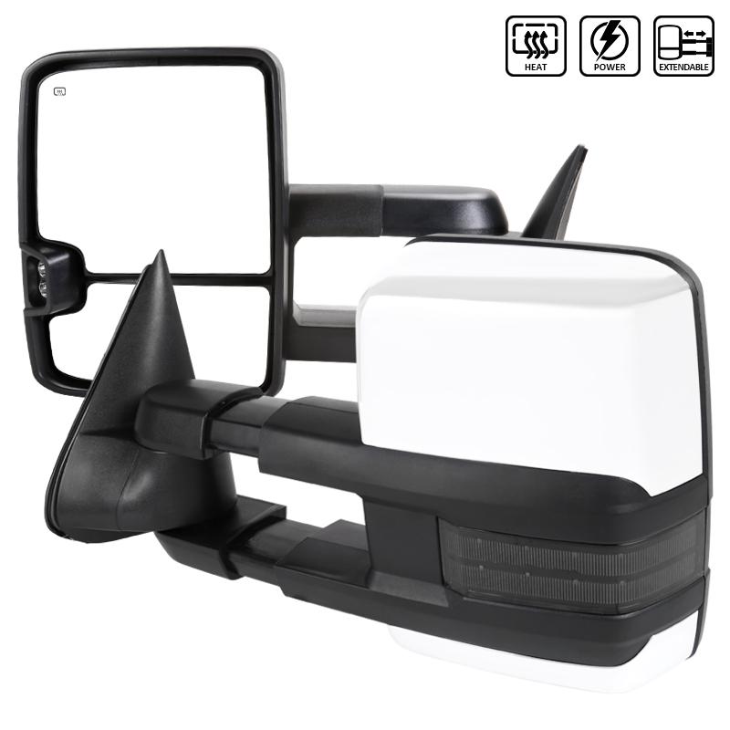 """Towing Mirrors - Krom/Svart. Elektrisk, med värme, """"Smoke"""" LED-blinkers. C10, C/K 1500-2500-3500, 1988-1998"""