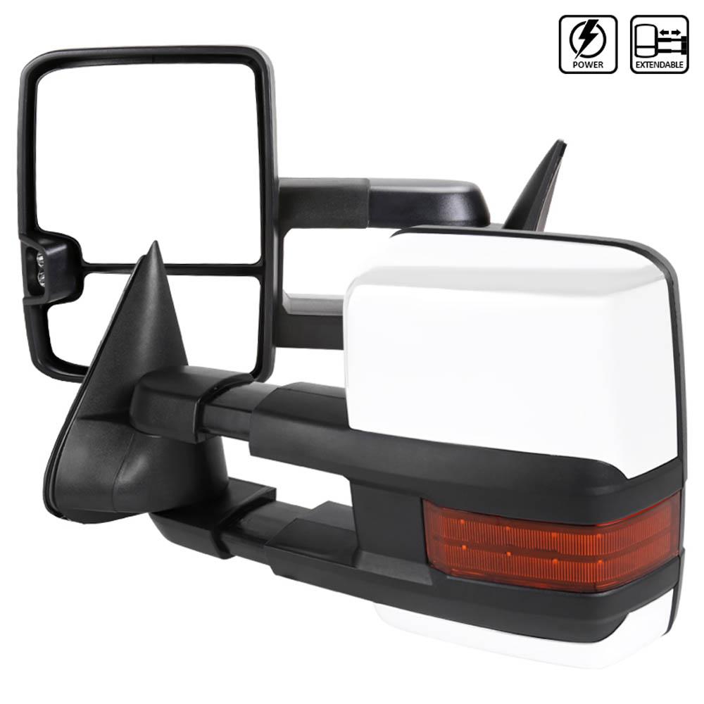 Towing Mirrors - Krom/Svart. Elektrisk, med värme, LED-blinkers. C10, C/K 1500-2500-3500, 1988-1998