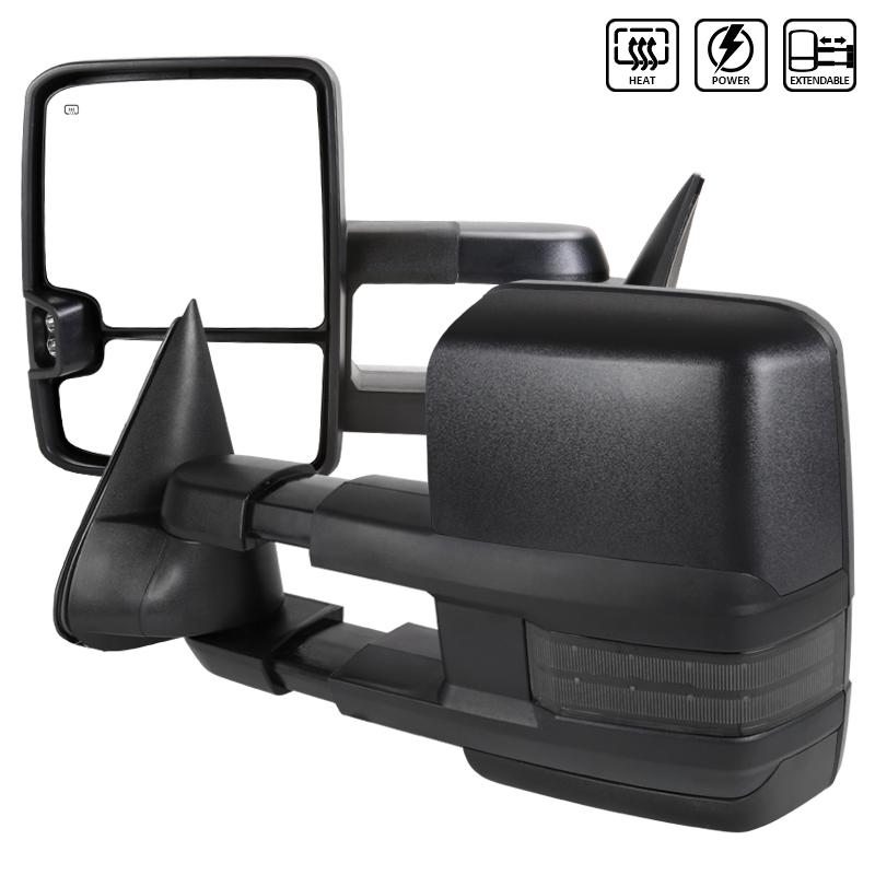"""Towing Mirrors - Svart. Manuellt fällbara, el-uppvärmda, med """"Smoke"""" LED-blinkers. C10, 1988-1998"""