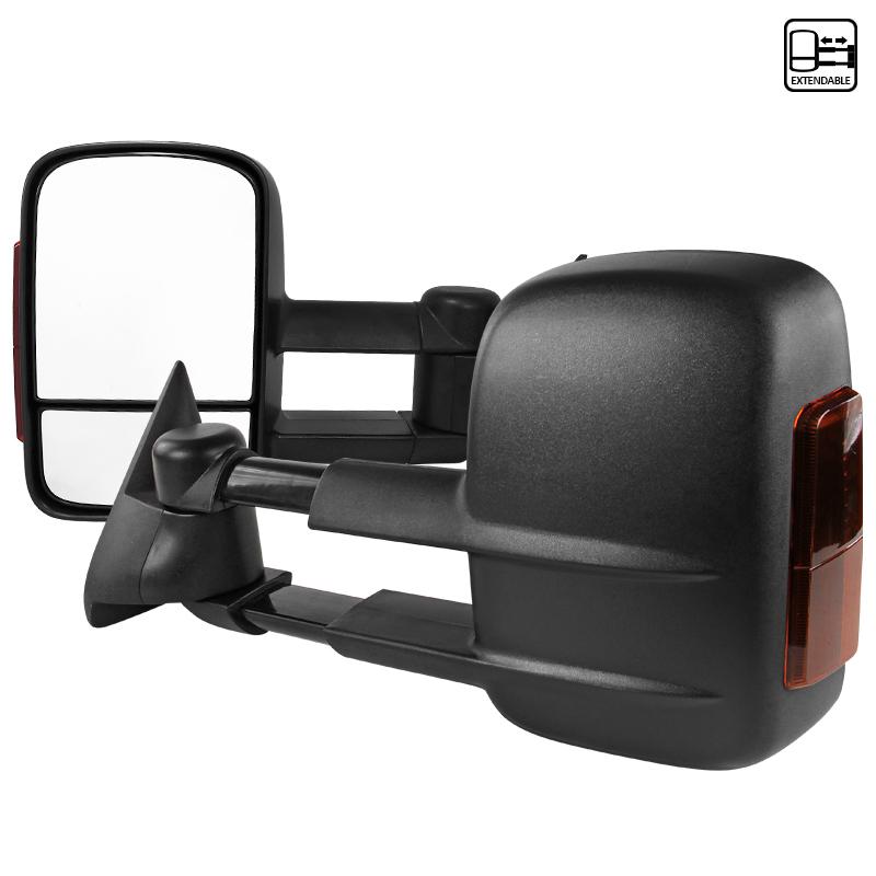 "Towing Mirrors - Svart. Manuellt fällbara, med ""Amber"" LED-blinkers. C10, 1988-1998"