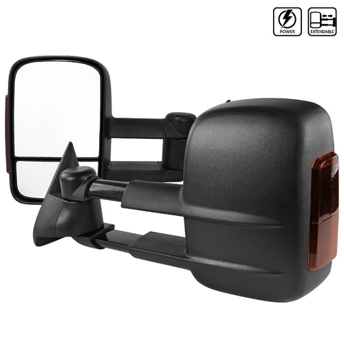 """Towing Mirrors - Svart. El-fällbara, el-uppvärmda. """"Amber"""" LED-blinkers. C10, 1988-1998"""