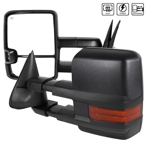 Towing Mirrors - Silverado 2003-2006, Svart. LED, El-fällbara, El-uppvärmning