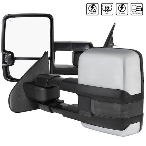 Towing Mirrors , Krom. Smoke-LED, El-fällbara, Defrost. Silverado 2014-2018