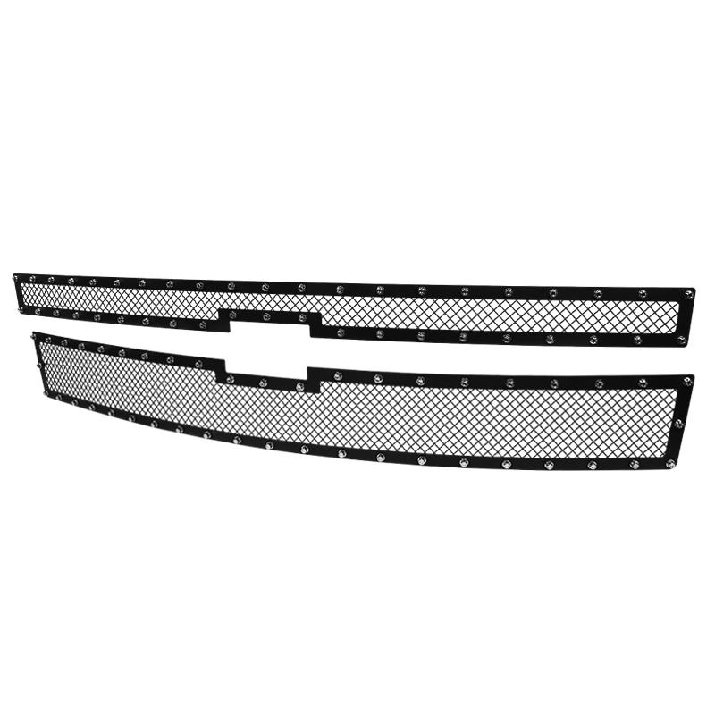 GRILLE INSERT - RIVET STYLE - STEEL/BLACK - NO DRILLING, Silverado 1500 14-15