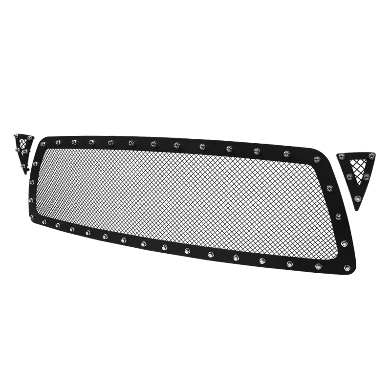 3PC GRILLE INSERT - RIVET STYLE - STEEL/BLACK - NO DRILLING, Tacoma 05-10