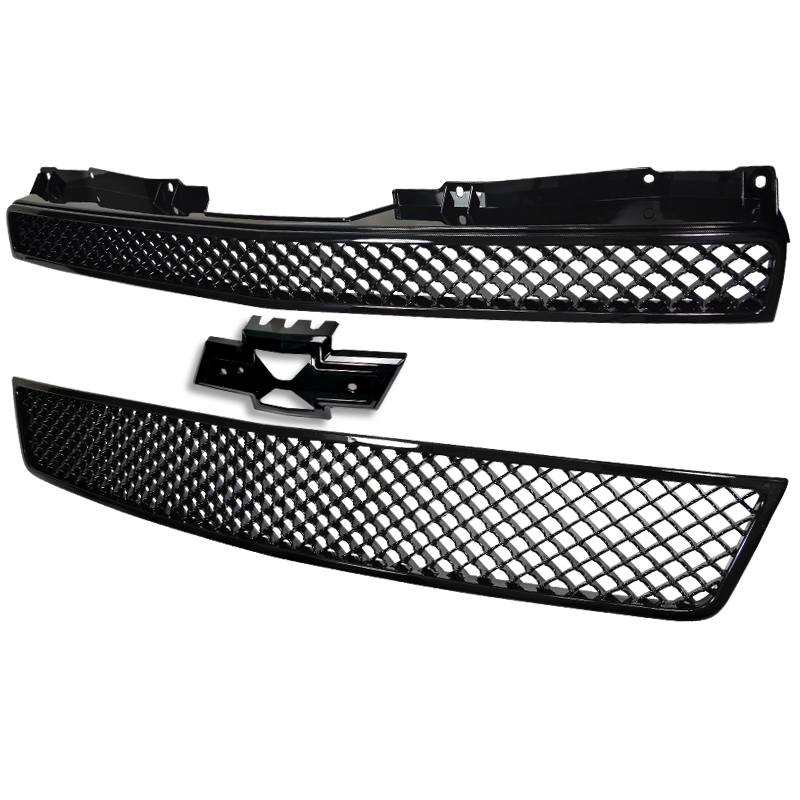 2 PIECES MESH FRONT GRILLE UPPER AND LOWER BLACK, Tahoe 07-11