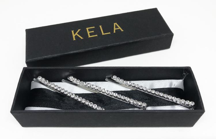 Hårspänne Silverfärgat med Kristaller ( 3st ) - KELA