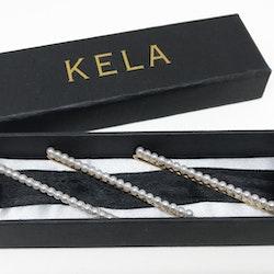 Hårspänne Guldfärgad med Pärlor ( 3st ) - KELA