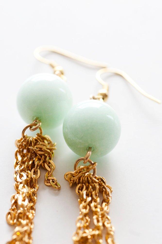 Gröna pärlor och tassels, örhängen