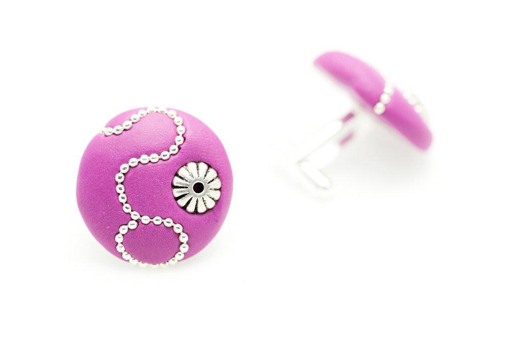 Manschettknappar i rosa och silver