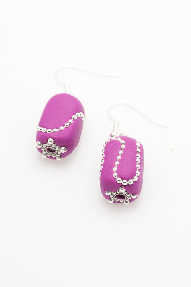 Örhängen i rosa och silver