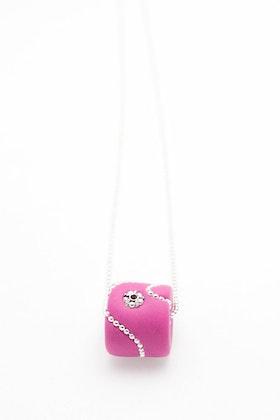 Pärla i rosa och silver, på kedja