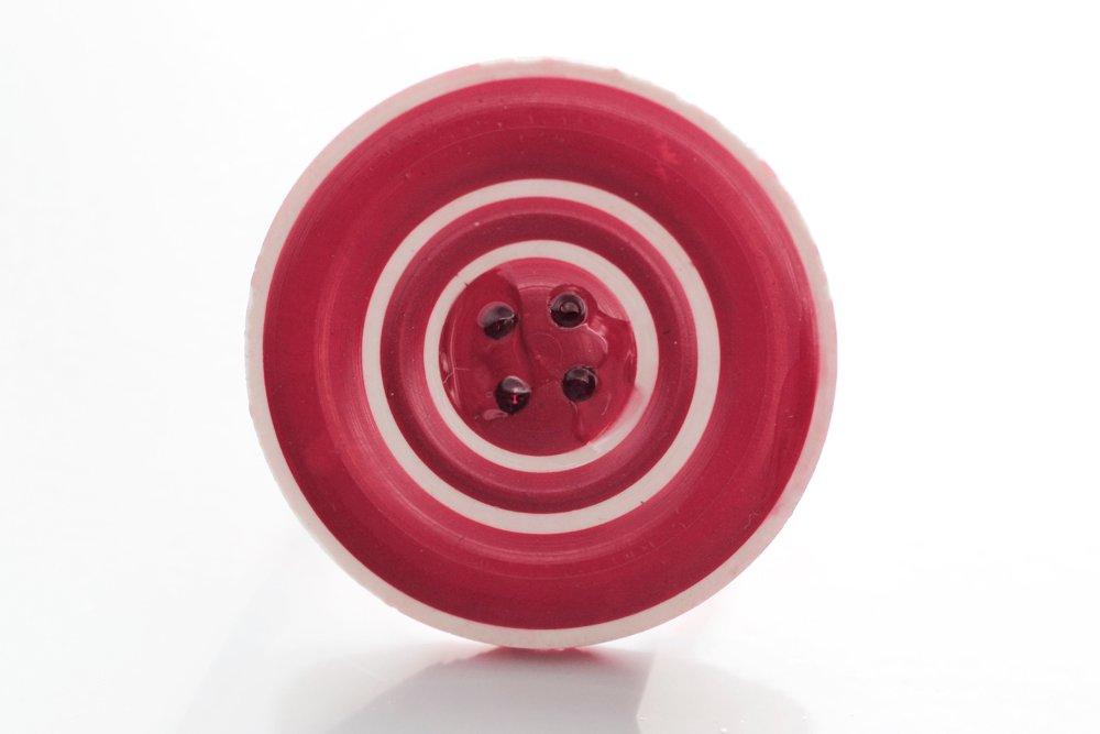 Röd och vit knapp, ring
