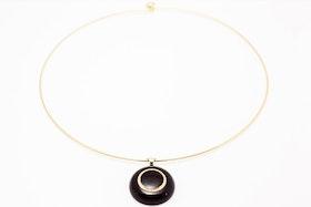 Svarta och guldiga knappar, halsband
