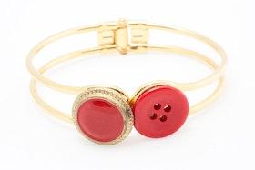 Röda och guldiga knappar, armband