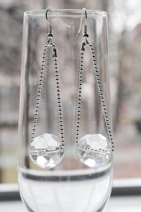 Glaspärlor på kedja, örhängen