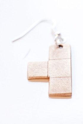 Tetris-hänge i brons, örhänge