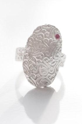 Mönstrat silver och kristall, ring