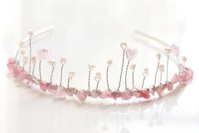 Tiara i rosa och vitt