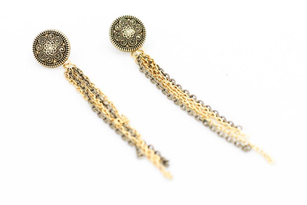 Guldiga knappar och tassels, kragbroscher