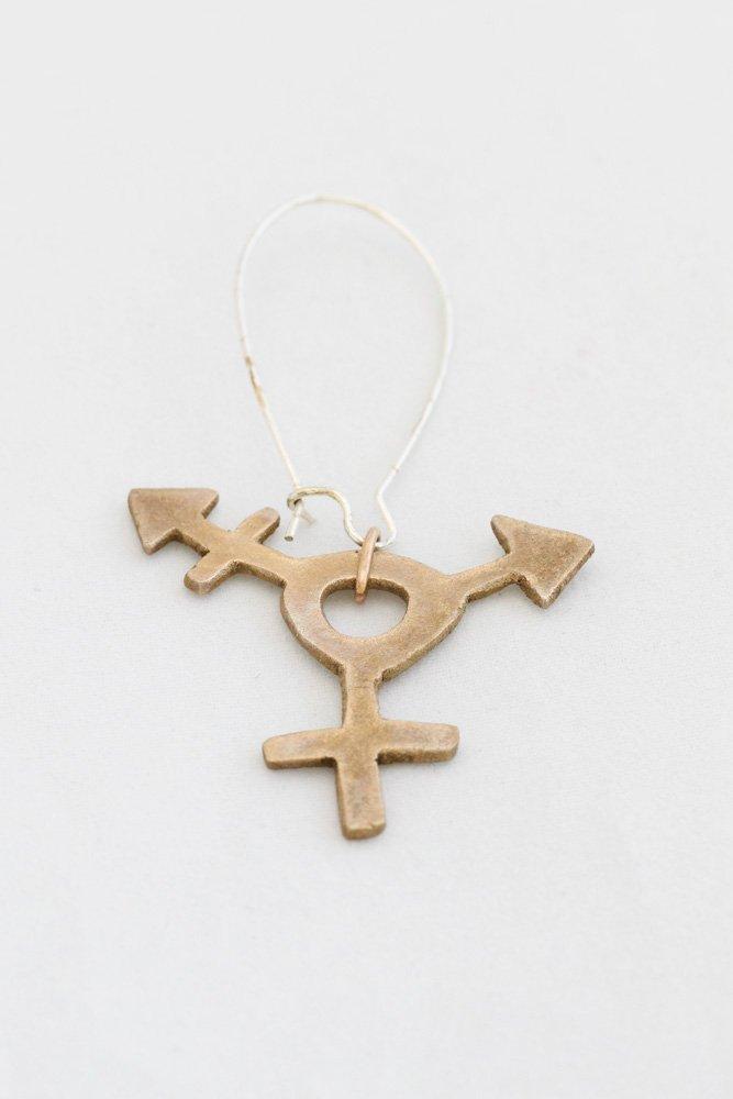 Transtecken i brons, örhänge