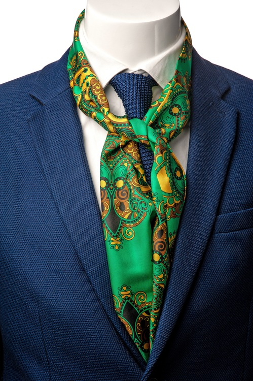 Le Cannet Scarf - Green Paisley