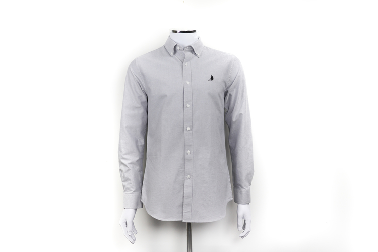 Grå oxfordskjorta, fransk inspiration, svensk design, kvalité