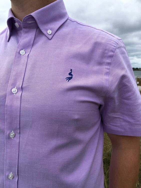 Oxford shirt kortärm  - Purple Le Cannet