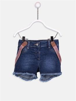 Jeansshorts med hängslen