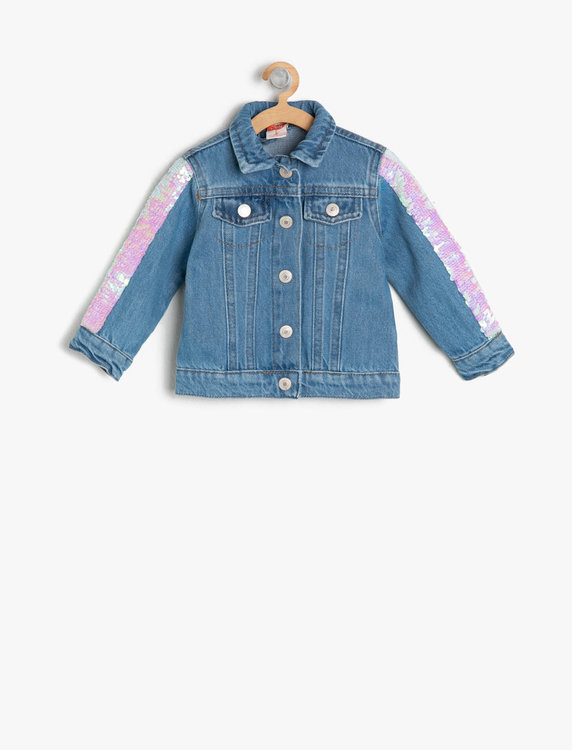 Jeansjacka med glitterrand