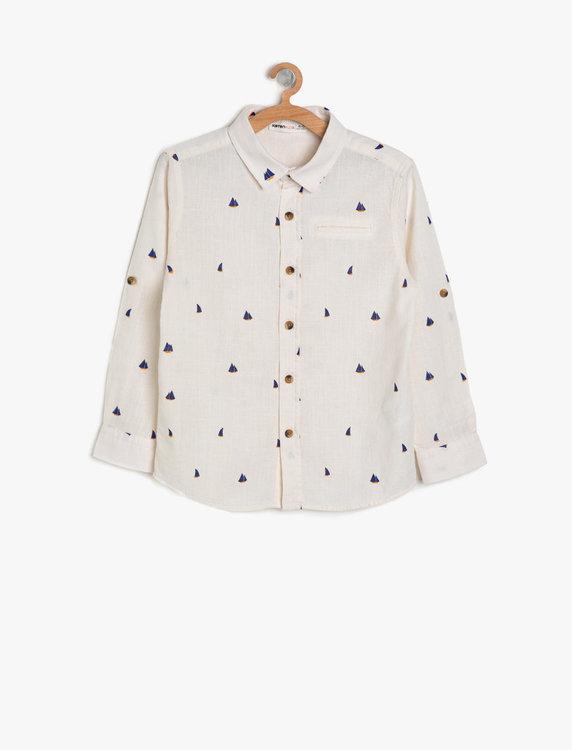 Skjorta med tryck i bomull