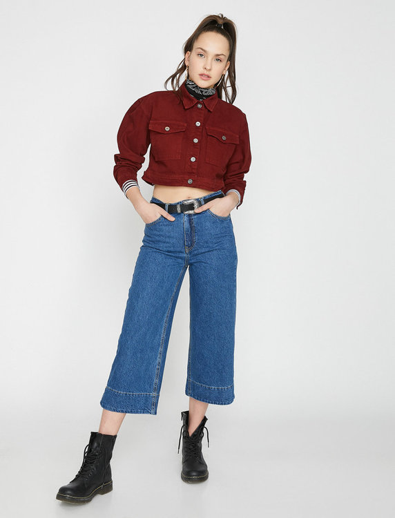 Kort jeansskjorta