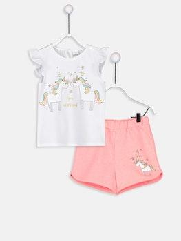 Mönstrad T-shirt och Shorts