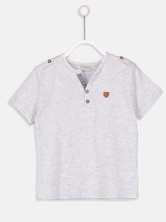V-hals knappar t-shirt