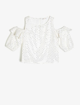 Cold shoulder-blus med volang