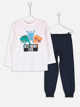 Bomull pyjamas med tryck