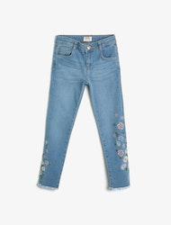 Ljusblå narrow fit high waist jeans