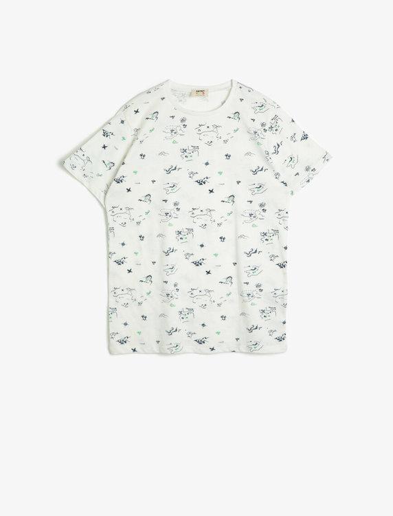 Mönstrad t shirt i bomull