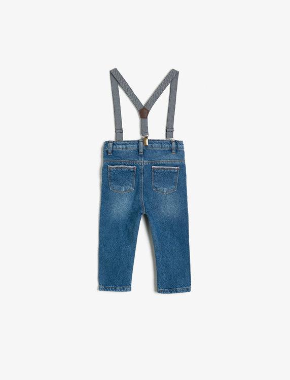 Jeanssbyxa med hängslen