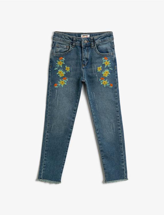 Skinny Fit Jeans med broderier