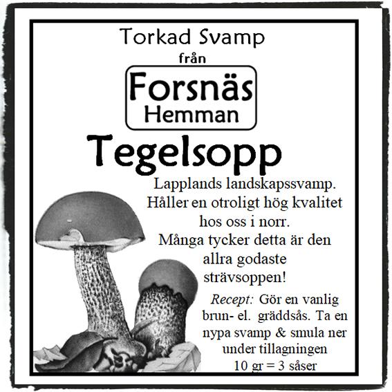 Torkad svamp- Tegelsopp