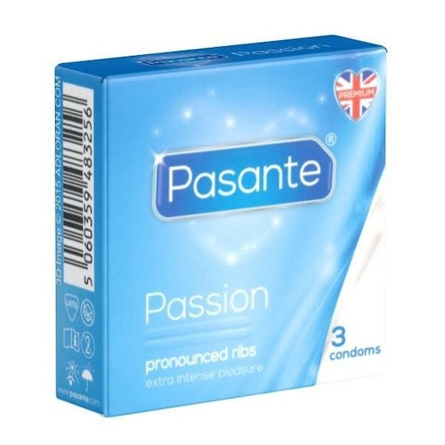 Pasante Passion Ribbed Condoms 3 Pack