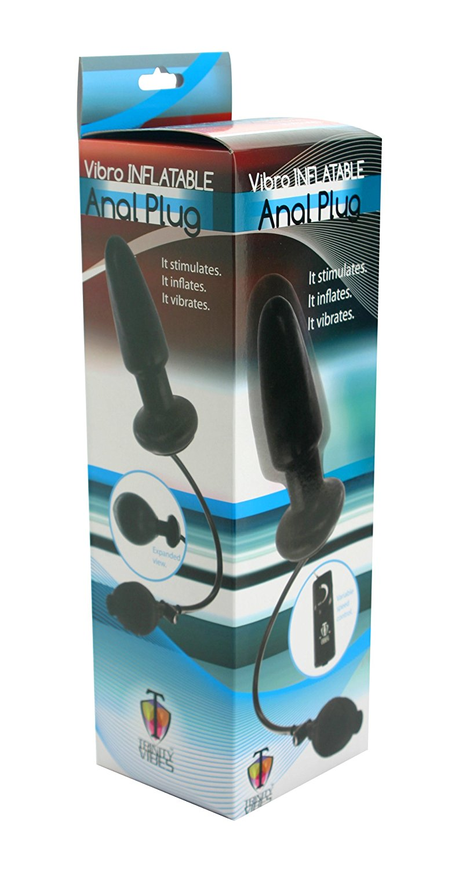 Inflatable Vibrating Butt Plug Black