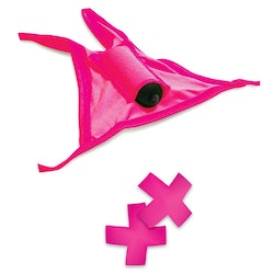 Neon Vibrating Crotchless Panty And Pasties Set One Size