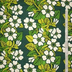 Tyg Retro Grönt med vita blommor Solskydd barnvagn