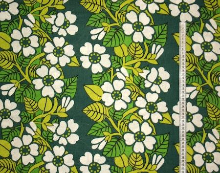Tyg Retro Grönt med vita blommor. Solskärm / Bältesmuddar