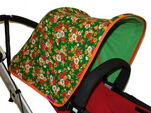 Tyg 70-tal Blommigt  Solskydd barnvagn