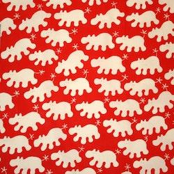 Tyg rött med vita flodhästar Solskydd barnvagn